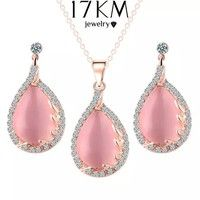 Home | Romantic Elegant Rose Gold Plated Pink Colors Crystal Rhinestone Opals Leaf Flower Water Dangle Earrings Pendant Necklace Set Wedding Jewelry (Color: Pink)