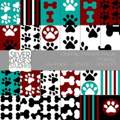 Puppy Paw Print Digital Paper 24 Pack by SilverDaisiesStudios, $6.00