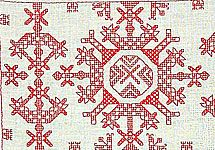 Käspaikka (L4 11) Star Patterns, Finland, Bohemian Rug, Embroidery Designs, Initials, Ornament, Old Things, Textiles, Symbols
