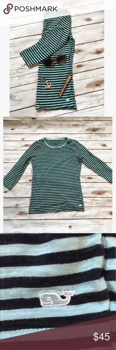 Vineyard Vines 3/4 Length Sleeve Tee 3/4 length sleeve tee from Vineyard Vines! Size XS, worn a handful of times. Navy and teal stripes. Lightweight and comfy!! Vineyard Vines Tops Tees - Long Sleeve