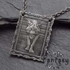 Wolf~Engraved Necklace – PeagerFantasyWorld