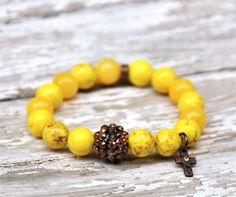 NEW Yellow with bronze bracelet