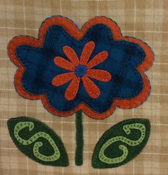 Heather's Fanciful Flowers. Wool Applique Block of the Month from Sew Creative in Ashland, OR.