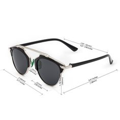 CHB Women's HD Mirrored Lens Creative Metal Frame Street Fashion Designer Polarized Sunglasses UV400 with Case-Silver(gray lens) - $18.98 : www.chb.us.com