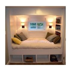 Day bed with shelves - under the window perfect for our small third room in the house!