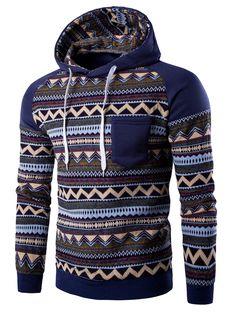 $17.68 Color Block Tribal Printed Pocket Hooded Raglan Sleeve Hoodie