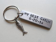 A personal favorite from my Etsy shop https://www.etsy.com/listing/195225450/anniversary-keychain-fish-keychain
