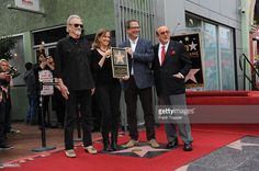Guest Speakers, Music producer Clive Davis and singer/composer Kris Kristofferson pose with Joplin's siblings (center), Michael and Laura Joplin at the ceremony that honored Janis Joplin with a Star on the Hollywood Walk of Fame.