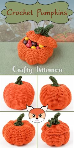 Crochet 4 amigurumi pumpkins with this pattern.
