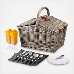 The Piccadilly - Anthology Picnic Basket is reminiscent of simpler times, when picnics were grand affairs and life's pace afforded you the time to enjoy them to the fullest. This fully-lined willow basket measures 16 in. long and has a easy-access double-lid design with service for two. Features a matching roll-up flatware pouch and premium leatherette accents. Take the Piccadilly on your next picnic and enjoy life's finer moments. Includes: Willow Picnic Basket Two 8 in. Plates Two 8 oz…