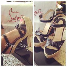 Louboutin black calf & rope wedges 140mm