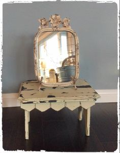Metal Mirror with Flowers and Easel