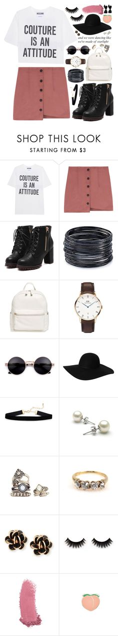 """""""154. Meet me in the pouring rain, kiss me on the sidewalk, take away the pain"""" by misspyromaniac ❤ liked on Polyvore featuring Moschino, ABS by Allen Schwartz, BP., Daniel Wellington, Monki, Chantecler, Gucci, PINTRILL and Chanel"""
