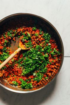 Flavorful, 30-minute Moroccan-spiced lentils with paprika, peppers, tomato, and fresh herbs. A healthy plant-based side or addition to bowls and salads!