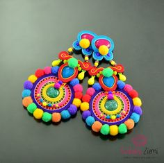 Colorful Long Pom Pom Clip on Earrings, Colorful Pompoms Very Long Dangle Soutache Earrings, Multicolor Oriental Pompom Bohemian Earrings by OzdobyZiemi on Etsy Soutache Earrings, Clip On Earrings, Crochet Earrings, Etsy Jewelry, Jewelry Crafts, Beaded Jewelry, Jewellery, Fashion Earrings, Jewelry Design