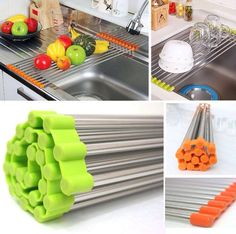 Sink Rack Roll /Stainless Steel Shelf Sink Rack /Portable Folding /Green,Orange Bet it could work great as a cookie cooling rack.keep the crumbs right over the sink! Kitchen Ikea, Kitchen Hacks, Kitchen Tools, Kitchen Decor, Bar Kitchen, Kitchen Dining, Life Kitchen, Kitchen Small, Kitchen Stuff