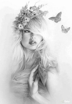 Woman With Flower Crown And Butterflies Coloring For Adults