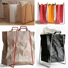 Support for paper bags to put recycling in. Waste Recycle — Better Living Through Design