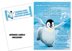 Image detail for -Happy Feet Penguin Birthday Party Invitation