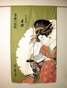 JAPANESE NOREEN | Japanese Noren - Geisha Reading