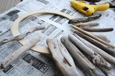 The driftwood was slowly attached to the totally-free-and-DIY'ed and sanded ...