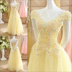 AHS072  New Arrival A-Line Yellow Tulle Train Prom Dresses with Appliques 2017