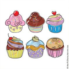 Cute Cupcake Svg Files Doodle Clipart