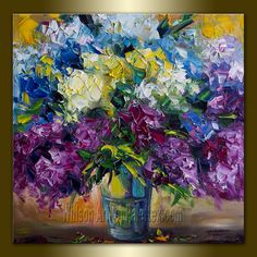 Original Floral Textured Palette Knife Oil Painting Contemporary Modern Art 20X20 by Willson Lau.