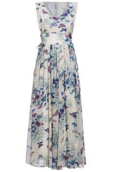 V Neck Butterfly Print Chiffon Dress