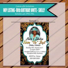 Custom 90th Invitation for Shelly