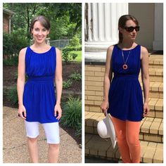 Blue tunic, white shorts and peach jeggings