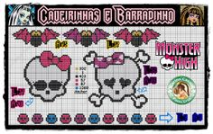 Monster High skulls and ornaments perler bead  pattern by Carina Cassol -