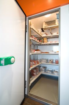 I need shelving just like this! I can see my stock! Room Shelves, Metal Fabrication, French Door Refrigerator, Safe Food, Shelving, Innovation, Kitchen Appliances, Cool Stuff, Shelves