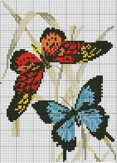 Cross stitch butterflies and chart. Butterflies, blue and red-orange on reeds.