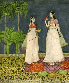 Woman and Attendants with a Bird Golconda, Deccan School, late 18th c
