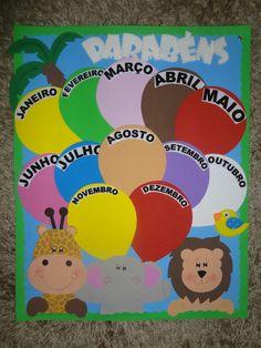 Kit decorando a sala Safari no Elo7   CRIANDO ARTE EM E.V.A (8A104F) Daycare Schedule, Diy For Kids, Crafts For Kids, Preschool Art Activities, Birthday Charts, School Labels, Paper Crafts Origami, Kids Calendar, Class Decoration