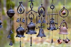little bells, wind song, chimes in passing Sun Catchers, Dream Catchers, What A Nice Day, Blowin' In The Wind, Diy Wind Chimes, Yard Art, Decorative Bells, Homemade, Crafty