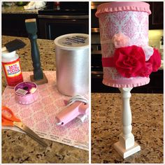 DIY headband holder for baby girl! Modge podge on/over craft paper, decorate with ribbon, and glue to a candlestick holder. Storage inside too! Under $5