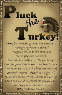 Prepared NOT Scared!: PLUCK...The Turkey!  Thanksgiving Hangman game