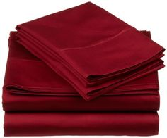 530 Thread Count 100 Premium Combed Cotton Single Ply Twin XL 3Piece Sheet Set Solid Burgundy *** Click for Special Deals #AmazonBestSellers