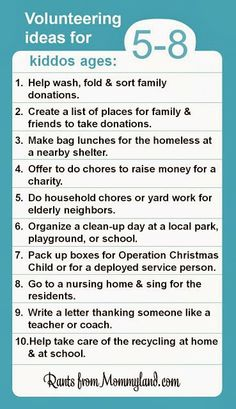 RANTS FROM MOMMYLAND: Volunteer ideas 5-8 year olds