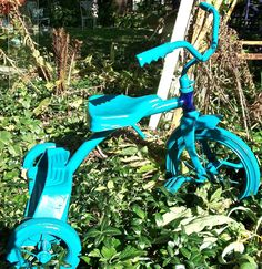 Flexible Flyer Tricycle Yard Art Aqua Blue by CasaKarmaDecor, $40.00