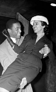 """Dorothy Dandridge and Alex Cressan, her co-star in the 1958 film """"Tamango"""" (he played the title role, the leader of a slave revolt) at Maxim's in Paris in April, 1957. Mr. Cressan was a medical student in Martinique before he made """"Tamango,"""" his only film. Photo: Keystone-France/Gamma-Keystone via Getty Images."""