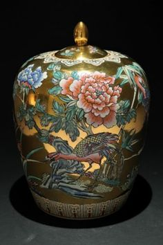 SUPERB VTG Chinese Gold Porcelain Melon Jar: H Paint, Bird, Flowers, Vase, Markd