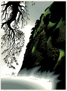 LITTLE BIG SUR by Eyvind Earle || I will no longer be a thing confined / To limitations cares or thoughts that bind / Me to an even smaller universe   Illusion petty ways or matter's curse / I shall break loose from three dimensional being / To fourth dimensional inner sounds and seeing / And shed all binds and bounds and limitations / To never more be tied to worldly stations