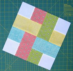 Woven Block. rectangles are 3 1/2 x 6 1/2, squares are 3 1/2 x 3 1/2;  Tutorial at http://sewhappygeek.co.uk/index.php/2012/01/03/sew-happy-quilt-qal-week-1-woven-snowball-block-tutorials/