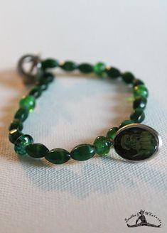 Vintage Inspired Green Glass Beaded Bracelet - Demon Charm Bracelet - Halloween Bracelet - Goth Bracelet - OOAK