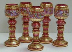 5 Beautiful Antique Bohemian Moser Enamel Cranberry Roemer Goblets Selling as Is | eBay