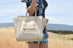 White Ivory Drummed Pebbled calfskin lather Celine Mini luggage bag! Great  pre-owned condition d30cf82d83