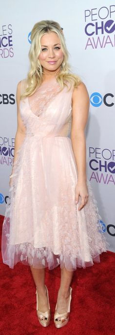 We're Hoping For Lots of Gorgeous Gowns in Christian Siriano's Lane Bryant Collab: Kaley Cuoco wearing a pink ballerina-inspired dress on the red carpet